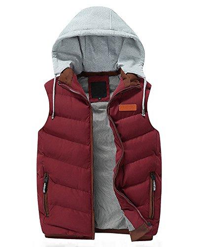 Corto gilet imbottito giacca da uomo con cappuccio senza maniche cappotto parka rosso m