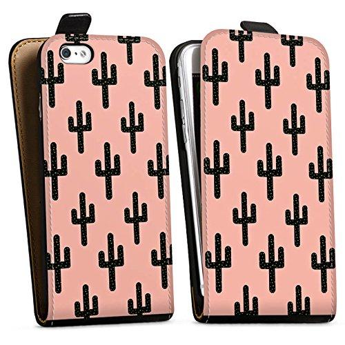 Apple iPhone X Silikon Hülle Case Schutzhülle Kaktus Muster Schwarz Pink Downflip Tasche schwarz