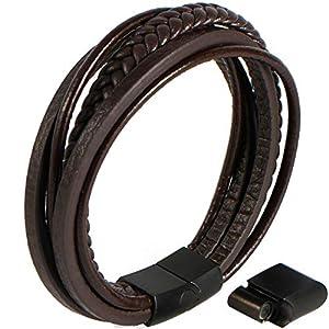Echtlederarmband für Männer in schwarz & braun – markant und maskulin – Armband aus Leder für Herren mit Magnetverschluss