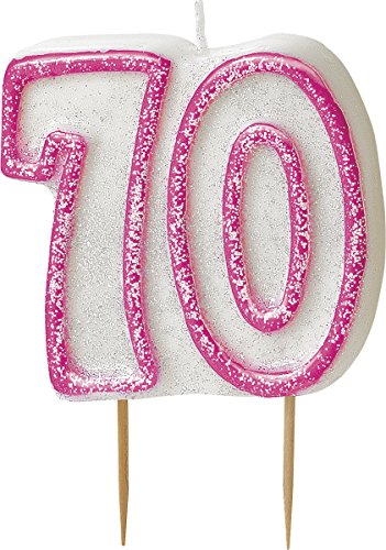 bling-party-decorations-and-tableware-for-70th-birthday-in-pink-glitz-70-candle