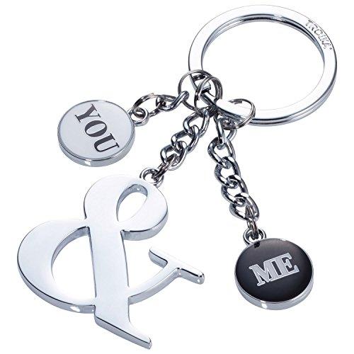 TROIKA YOU & ME – KR17-37/CH – Schlüsselanhänger mit 3 Anhängern – für Verliebte, Paare, Pärchen oder beste Freunde – Metallguss/Emaille– glänzend – verchromt – silber, schwarz, weiß – TROIKA-Original