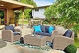 Au jardin de Chloé - Salon de Jardin en résine tressée Ronde Haut de Gamme - Tara - Osier Naturel - 4 Places