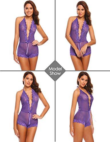 ADOME Frauen Spitzen Dessous Neckholder One Piece Lingerie Bodysuit mit tief V-Ausschnitt Violett