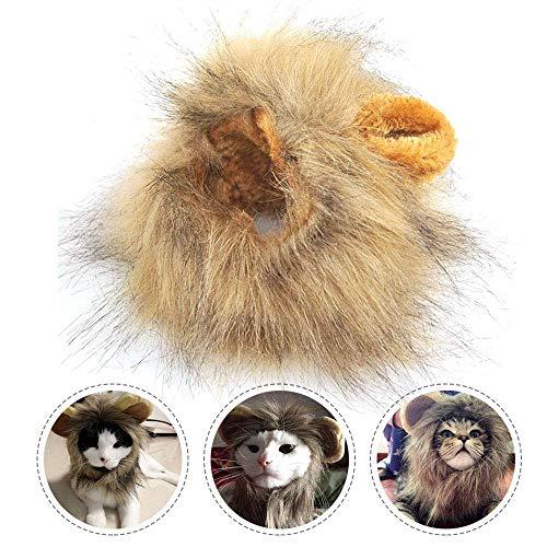 TEEPAO Löwenmähnen-Kostüm, lustige Löwen-Perücke, Kopfbedeckung für Haustierpartys mit Ohren für Katzen/kleine Hunde, Kopfumfang ca. 26 (Der König Und Ich Kostüm)