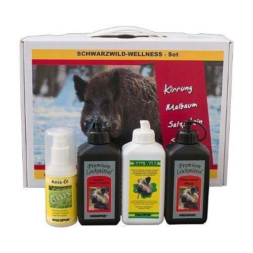 Schwarzwild wellness Set Atrayentes para jabalí de la marca Hagopur - Set de atrayentes naturales: Pherotar aceite de madera de haya, Sau-wohl atrayente con análogos de feromonas, atrayente con aroma de trufa y aceite de anís