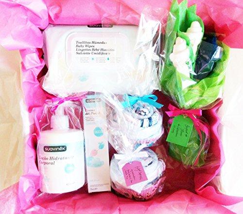 Maxi Einkaufskorb für Babys mit SUAVINEX Produkte und Geschenkset für Baby | Alles ist von Marke, 100% Baumwolle und Größe 1–6Monaten | Baby Shower Gift Idee | für Gemel @ S oder Geschenkidee für ein Maxi Geschenk für ein Baby. | Version Unisex