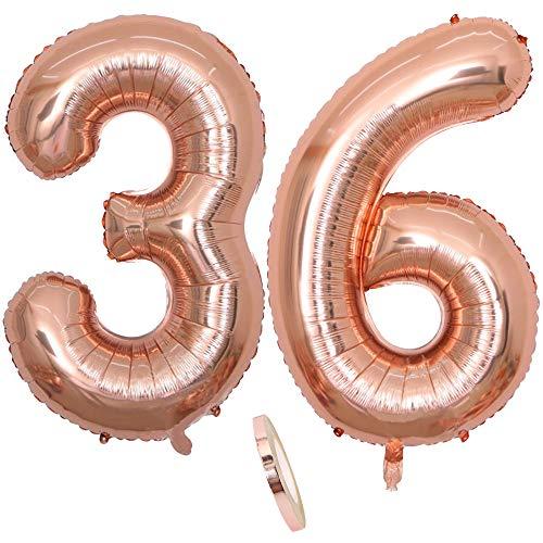 2 Luftballons Zahl 36, Nummer 36 Luftballon Rosegold Mädchen ,40