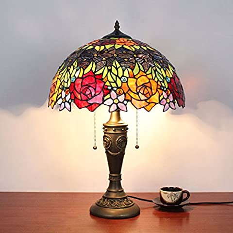 16 Inch Vintage Pastoral Colourful Gorgeous Flowers Stained Glass Table Lamp Bedroom Lamp Bedside Lamp
