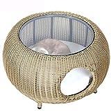 Cucce Indoor Rattan Cat House Cat Nido Tavolino Design Animale Stile gattile casa for Camera da Letto Soggiorno raffinata Tessitura Run-anmy (Color : Brown)