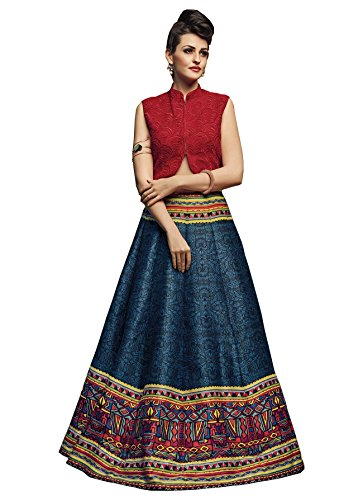 Royal Export women\'s Bangalori Silk Semi-Stitched Lehenga Choli (Blue)