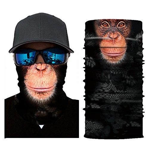 Colorful Damen/Herren Multifunktionstuch | Sturmmaske | Bandana | Schlauchtuch | Halstuch für Motorrad Fahrrad Ski Paintball Gamer Karneval Kostüm 3D Tiere Maske (B)
