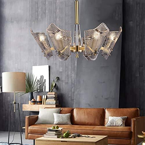 MQW Gold 72 x 45 cm Kronleuchter aus Glas aus Kupfer einfache Wohnzimmer Restaurant Lampe aus Kupfer Kaffeeglas elegant und schön -