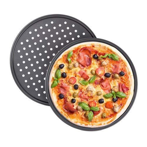 Relaxdays Pizzablech, 2er Set, rund, gelocht, antihaft, Pizza & Flammkuchen, Carbonstahl, Knusperblech, ∅ 32 cm, grau