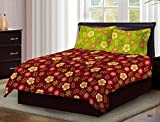 #10: Bombay Dyeing Axia Beautiful Maroon Floral Print Cotton 104 TC Double Bed Sheet With Two Yellow Pillow Covers