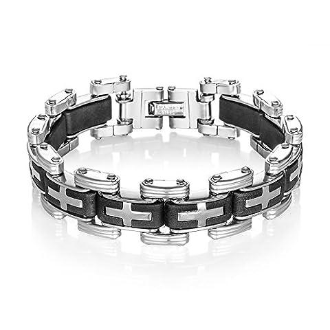 OBSEDE Men's Cross Bracelet Bicycle Chain Bracelet Stainless Steel Motorbike Chain 22.2cm