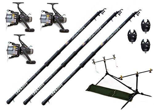 3 x 3,60 m Karpfenset de Pesca Cañas para carpas 3 x 3 bb carretes de pesca Rod Pod indicador de picada
