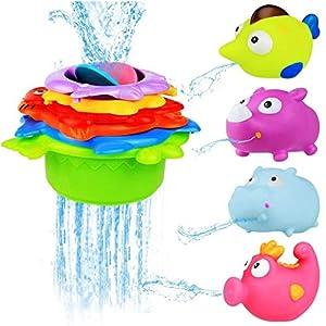 BBLIKE Badespielzeug Stapeln Tassen Spielzeug Gummiente Set mit Alphabet Buchstaben Zahl süß Geschenk für Baby, Kleinkind Jungen und Mädchen – ab 12 Monate