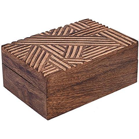 Store Indya, Hecho a mano Mangowood decorativo almacenaje de la joyeria de la baratija cajas de joyas de usos multiples con rusticas Crosshatch tallas (Medium)