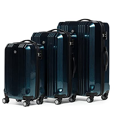 FERGÉ luggage set 3 piece hard shell trolley CANNES suitcase set 4 twin spinner wheels blue - luggage-sets