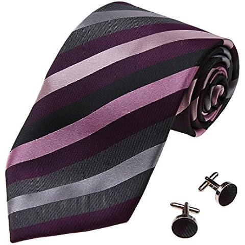 YAB1A16 multicolor raya Internacional Mens Regalo corbata de seda Set 2PT por Y&G
