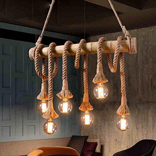 Retro corda della canapa lampade a sospensione vintage industrial soffitto a sospensione lampada creativo decorare lampadari 6 testa e27 220v 40w [classe di efficienza energetica a++]