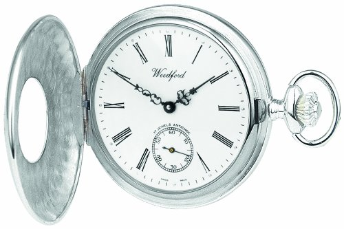 Woodford-Swiss-Made-Mechanical-Half-Hunter-Pocket-Watch-1067-Mens-Sterling-Silver-Separate-Second-Hand-Dial-with-Albert-Suitable-for-Engraving