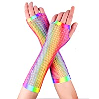 YiZYiF Colorful Dazzling Retro Fingerless Fishnet Gloves Stretchy Rainbow Colored Wrist Gloves for Women Girls 80s Costume Accessory Party Supplies