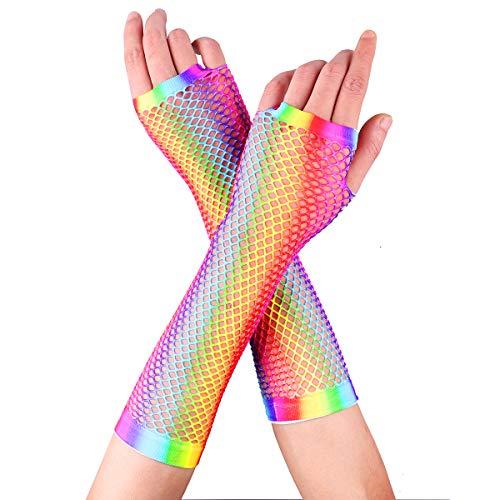 Tiaobug Damen Kurze Fingerlose Handschuhe Armstulpen Regenbogen Bunt Farbe Netzhandschuhe Party Fasching Karneval 80er Jahre Kostüme Zubehör Mehrfarbig lang One Size