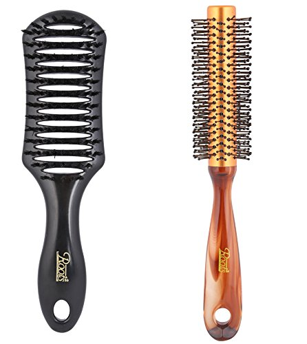 Roots Men Hair Brush & Golden Rim Shell Finish Round Hair Brush combo with pouch