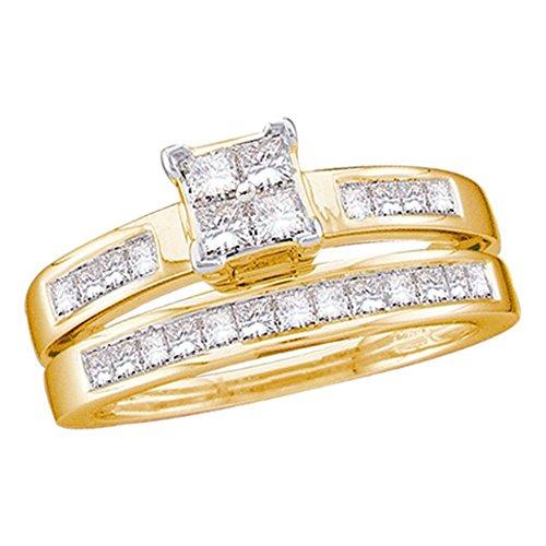 Damen-Ehering/Verlobungsring 14 kt Gelbgold 1,00 Karat Diamant Prinzessin Größe 7 (14 Größe Eheringe Männer)