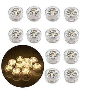 12x Teelichter LED Flammenlose, batteriebetriebene wasserdichte dekorative Beleuchtung für Aquarium/Teich/Schwimmbad/Hochzeit/Party (Warmweiß)