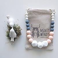Cadeau de naissance - Collier d'allaitement de portage de dentition MintyWendy - Marie poudré
