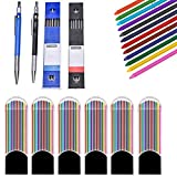 Hongtian 2 Pcs 20 Mm Mechanical Pencils with 6 Pcs Colored Lead Refills