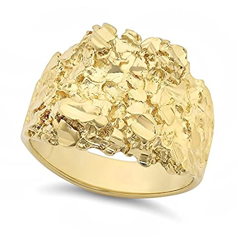 Large 21mm 14k Yellow Gold Heavy Plated Chunky Nugget Textured Ring, Size 13