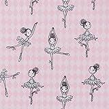 Baumwollstoff Digitaldruck Ballerina rosa grau weiß