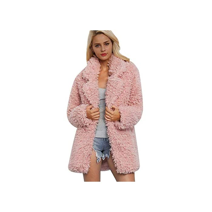 URSING Damen Mantel Warme Künstliche Wollmantel Revers Jacke Winter Parka Oberbekleidung Kunstpelzmantel Lang Trenchcoat…