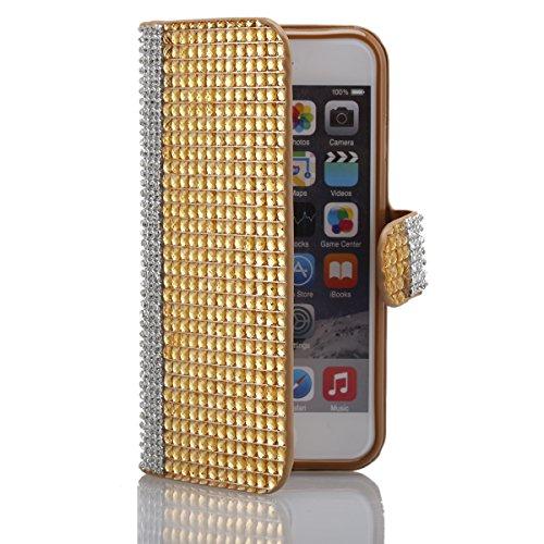 """iPhone 6s Ledertasche, Kristall Sparkly Diamant CLTPY iPhone 6 Folio Book Stil Luxus Schlanke Hybrid-Kreditkartentasche Mappenbeutel Schale Case, 3 in 1 Ganzkörper-Fall für 4.7"""" Apple iPhone 6/6s + 1  Gold C"""