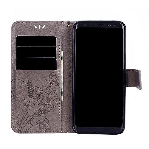Premium PU-Leder Folio Stand Case, Solid Color prägeartig Blumen schützende Geldbörse Tasche Tasche mit Lanyard & Card Slots für Samsung Galaxy S8 ( Color : Purple ) Gray