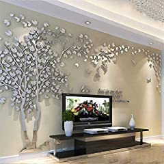 Idea Regalo - Albero Adesivo da Parete, Alberi e Uccelli 3D Adesivi Murali Arts Wall Sticker Decorativi per TV Par (M-250 * 130cm, Argento Sinistra)