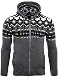 Reslad Herren Grobstrick Norweger Pullover Winter Strickjacke Kapuzenpullover RS-3104 (M, Anthrazit)