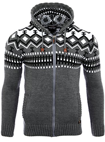 Reslad Herren Grobstrick Norweger Pullover Winter Strickjacke Kapuzenpullover RS-3104 (L, Anthrazit)