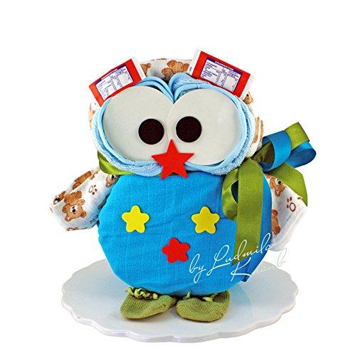 Windeltorte - Windeleule / Pamperstorte > Babygeschenk für Jungen in schönem Blauton // Geschenk zur Geburt, Taufe, Babyparty // originelles und praktisches Geschenk für Babys
