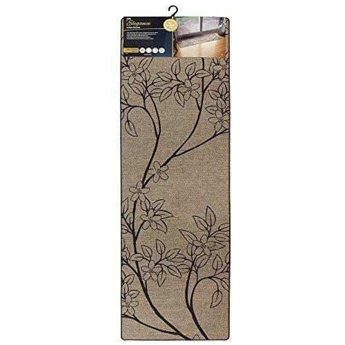 Jvl, tappetino da ingressolinea elegance; lavabile in lavatrice; superficie in poliestere con rivestimento in gomma; colore: beige, poliestere, branches, 50 x 150 x 0.5 cm