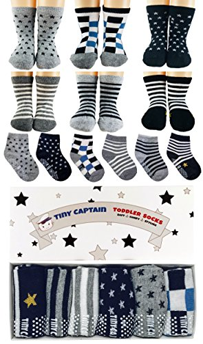 Baby Antirutsch Socken für Jungen, ABS Socken, super Geschenk für Junge im Alter von 1-3 Jahre, 6 Paar mit Antirutsch Noppen Von Tiny Captain (Geschenke Zum Geburtstag Für 1 Jährigen Jungen)