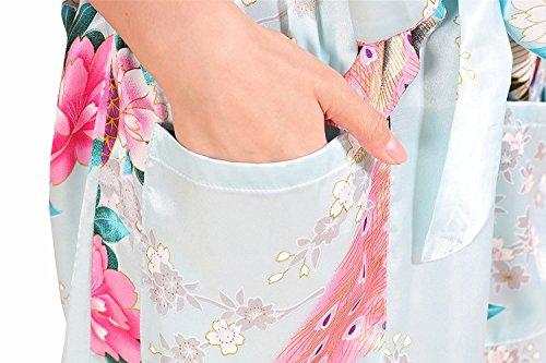Minetom Donna Pigiama Kimono Vestaglie Scollo A V Stile Breve Peacock Printing Kimono Bathrobe Con Cintura Azzurro