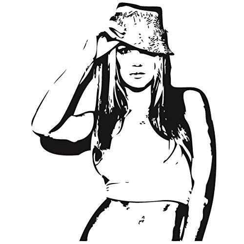 Wadeco Britney Wandtattoo Wandsticker Wandaufkleber 35 Farben verschiedene Größen, 124cm x 160cm, gelb