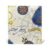 ALAZA Navires Ancre Compas Gull Réutilisable cuir Couverture de livre 9 x 11 pouces pour moyen à la taille Jumbo Relié Livres scolaires Manuels scolaires