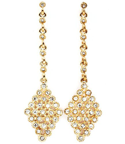 Filigran gold Ton Kristall klar Diamant Form lange Kronleuchter Drop Ohrringe
