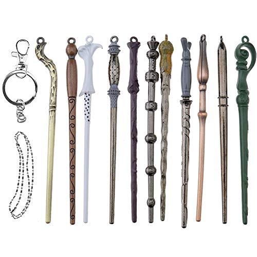 Harry Potter Bacchette magiche Set Metallo Mini Baguettes Cosplay Giocattolo dei Bambini con la Chiave e Collier Silente Voldemort Bacchetta Fiore
