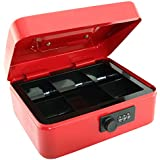 Caja para dinero de 8 pulgadas (20,3 cm) con cerradura de combinación y bandeja extraíble con 5secciones para monedas (color rojo)